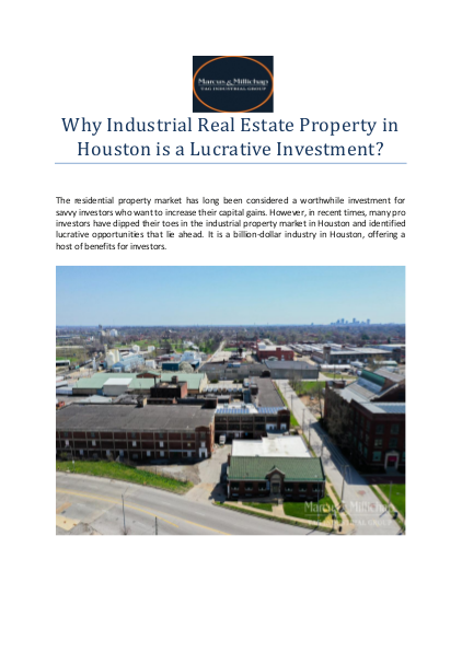 Why Industrial Real Estate Property in Houston is a Lucrative Investment?