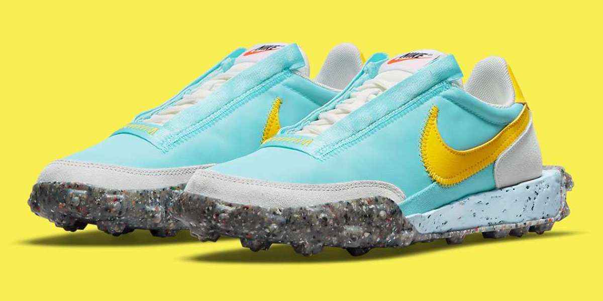 "2021 Nike Waffle Racer Crater ""Bleached Aqua/Sail/Photon Dust/Speed Yellow"" CT1983-400"